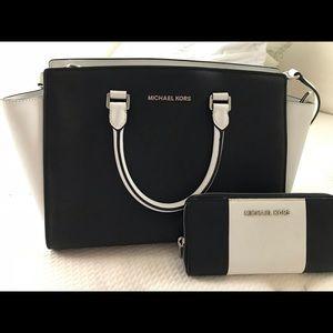 Authentic Michael Kors Selma handbag and wallet